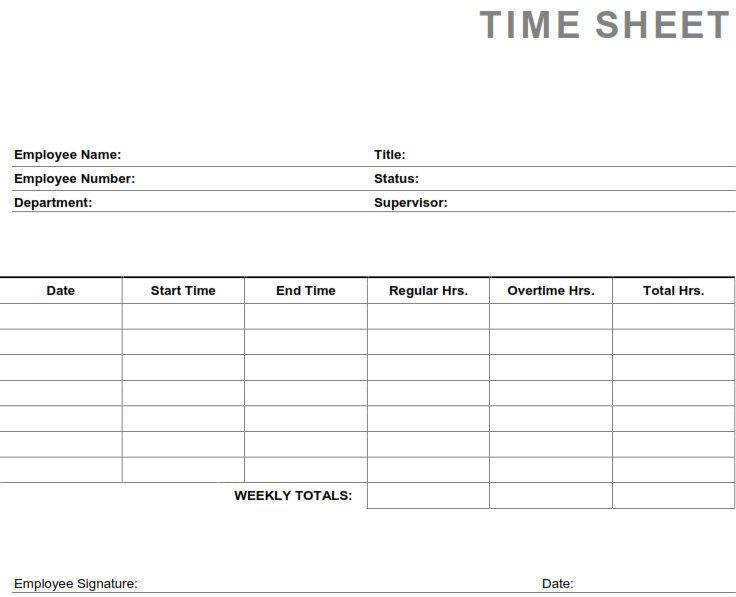 Printable Pdf Timesheets For Employees Time Sheet Printable