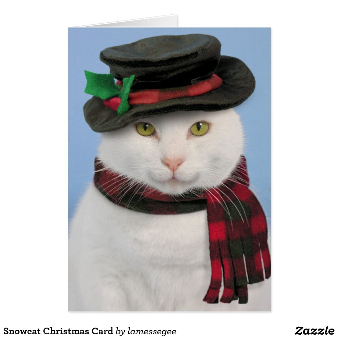 Snowcat cat Christmas Card | Zazzle products I like | Pinterest