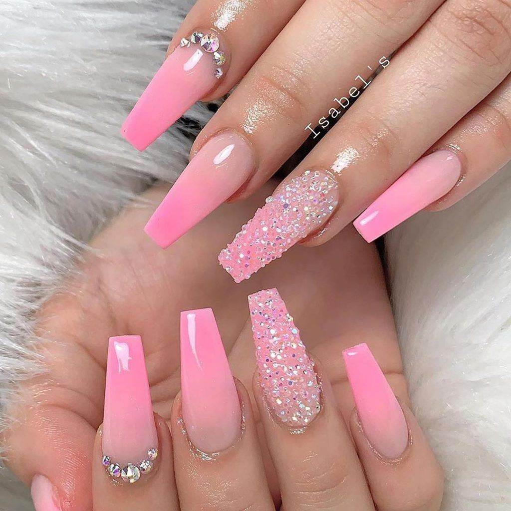 64 Romantic Sweet Pink Nails Ideas For 2020 New Year Pink Acrylic Nails Pink Glitter Nails Pink Nails