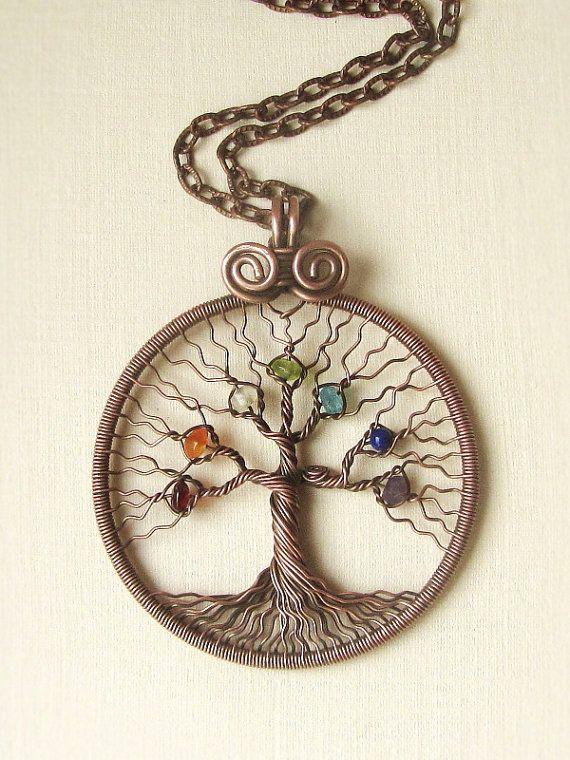 Beautiful Tree of Life Pendant  Round Chakra Healing Stone Rainbow Crystal Gem
