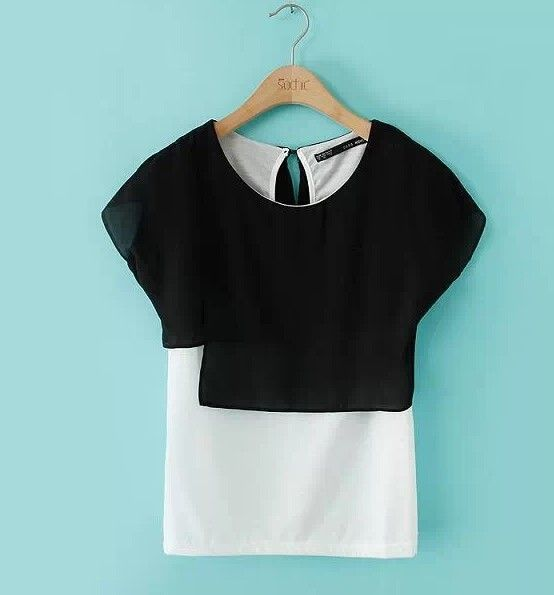 $11.19 Blended European Style Black and White False Two Piece T-shirt Asymmetry Tops http://www.eozy.com/blended-european-style-black-and-white-false-two-piece-t-shirt-asymmetry-tops.html