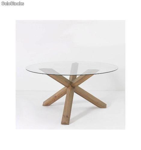 Mesa de comedor redonda cristal 150 cm REF. -TN-17660/11 | Muebles ...