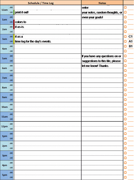daily hourly schedule template free