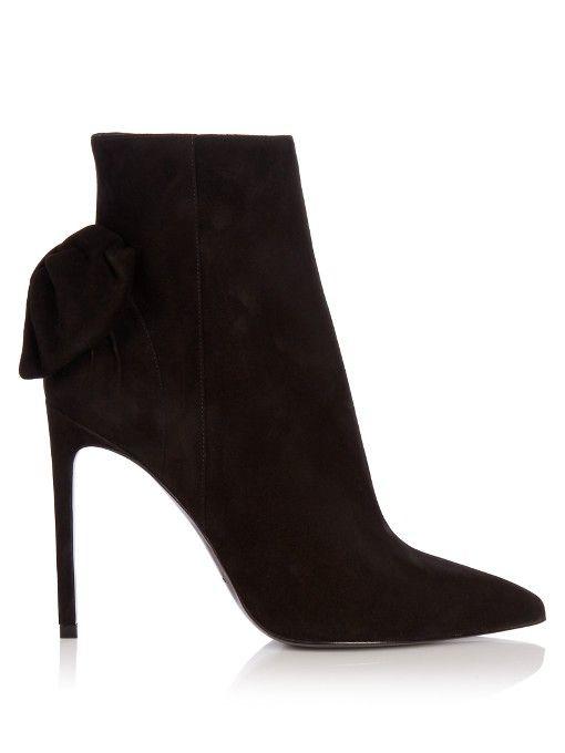 SAINT LAURENT Paris suede ankle boot. #saintlaurent #shoes #boots