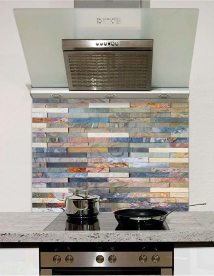 Colourful stone wall tiles Splashback (standard size) in ...
