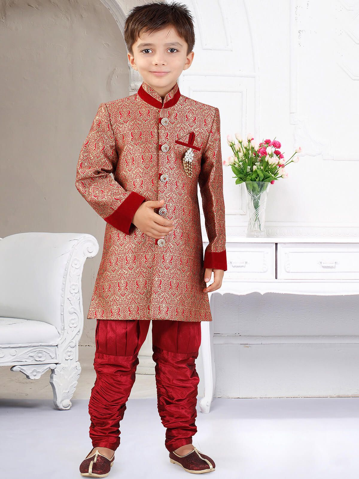 c13e11df4 Amusing peach ceremonial wear art silk kids sherwani. Having fabric art  silk, jacquard and