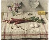 Voorjaar - A still life with rhubarb, eggs, flowers and a butterfly