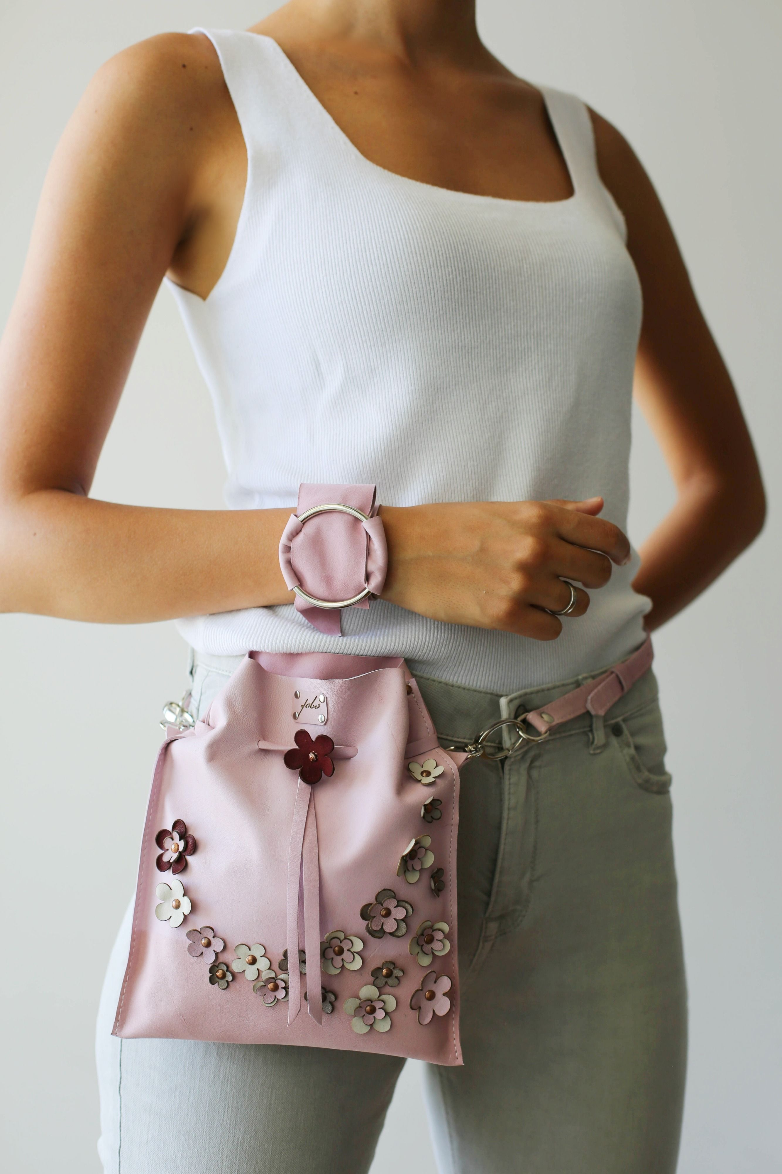 Pink Florals, Leather Bag, Pink Bag, Leather Purse, Leather Pouch, Floral, Pink Rose, Leather Handbag, Pink Floral Bag, Small Leather Pouch