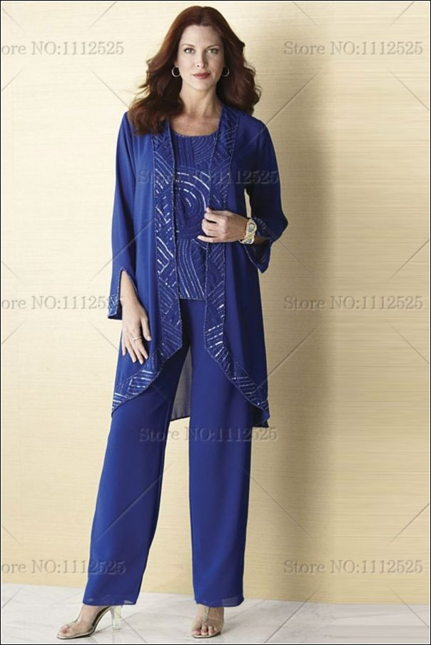 2014 Royal Blue Chiffon Three Piece Mother Of The Bride