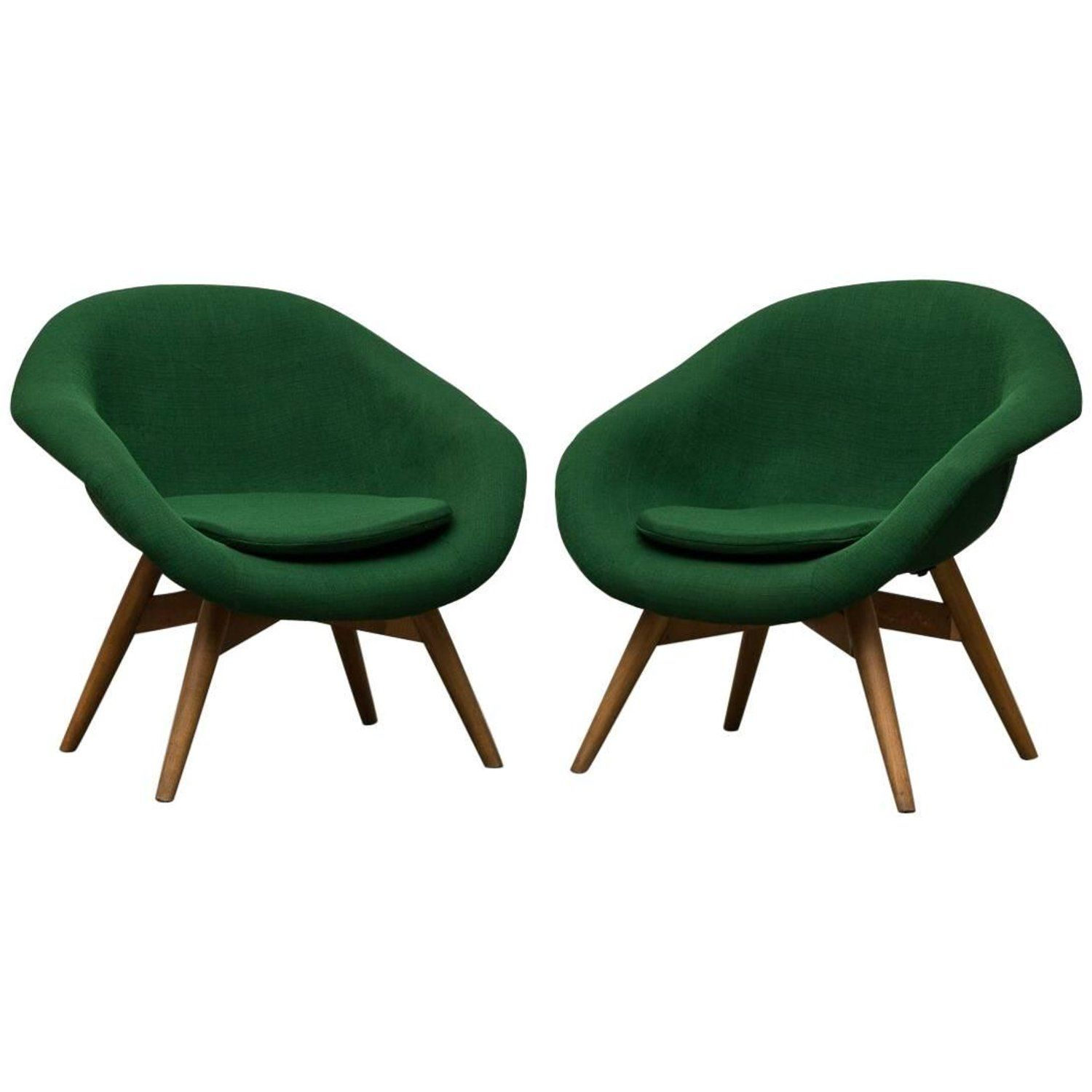 Pair of Bucket Lounge Chairs by Miroslav Navrátil for Vertex ...