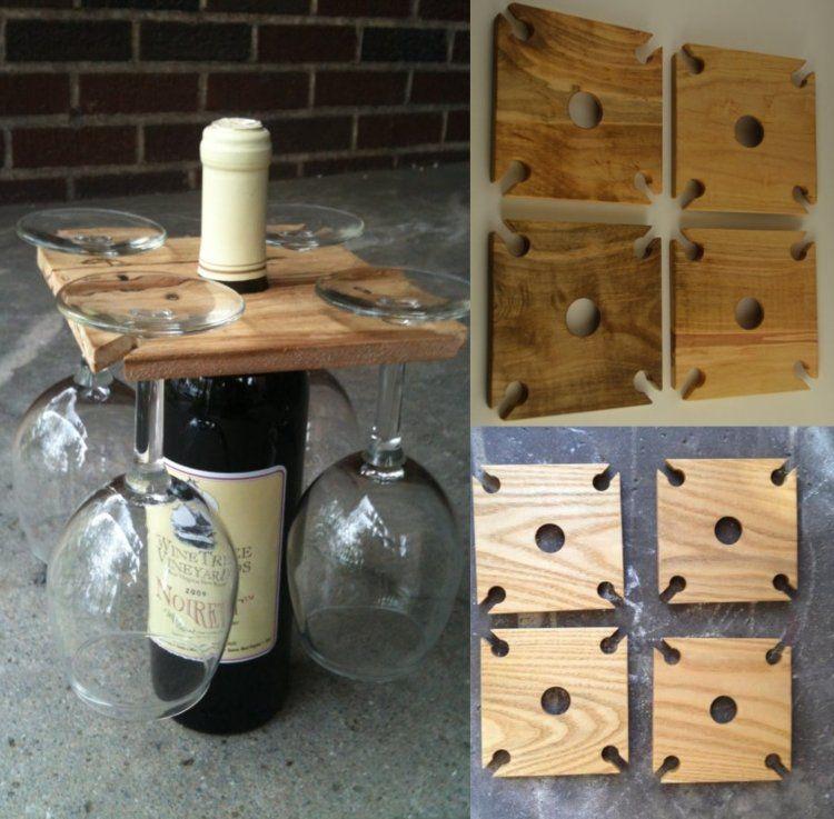 aus quadratischem holzbrett st nder f r gl ser und flasche wein basteln pinteres. Black Bedroom Furniture Sets. Home Design Ideas