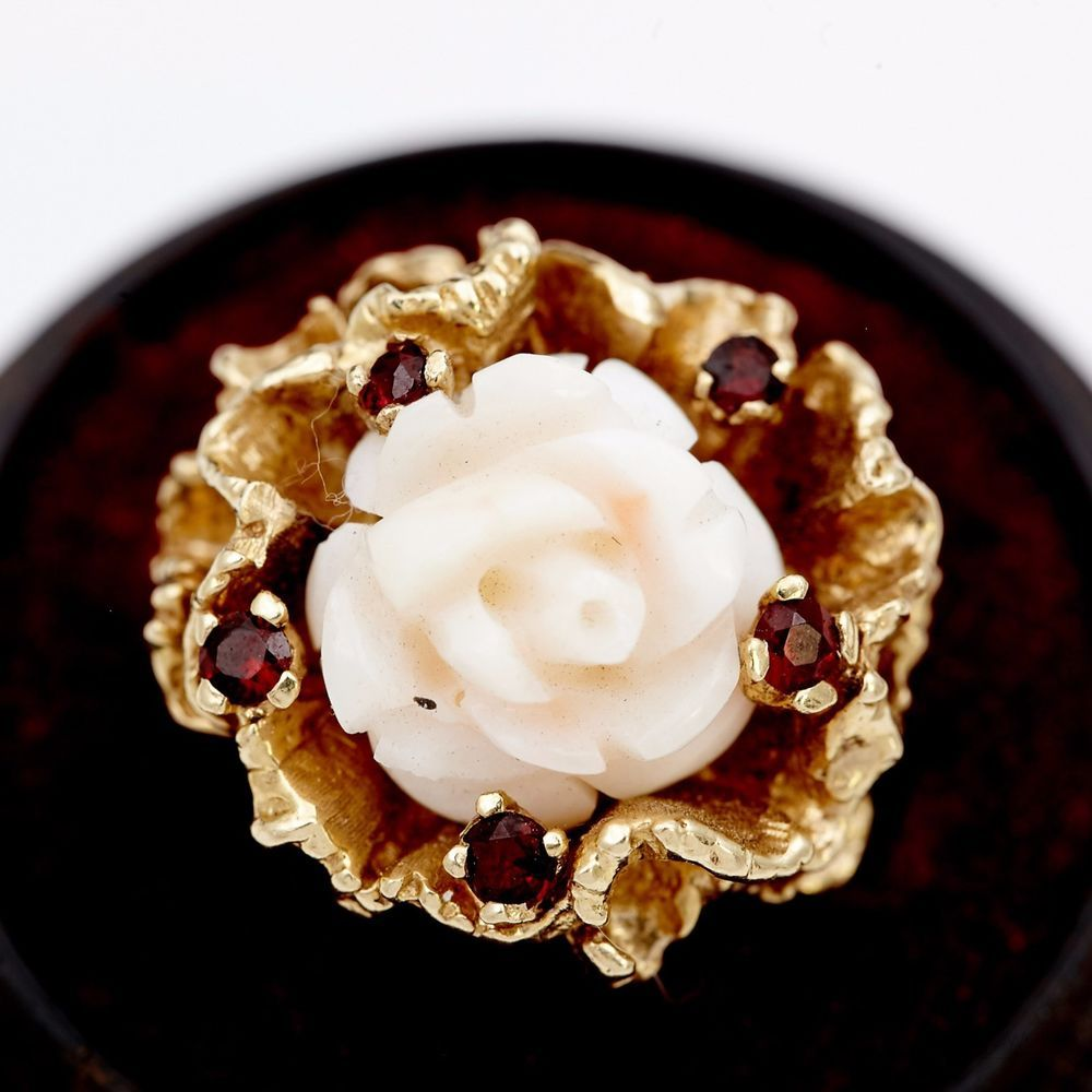 Antique Vintage C 1900 Art Nouveau 14k Gold Angelskin Coral Ruby Ring Sz 6 5 | eBay