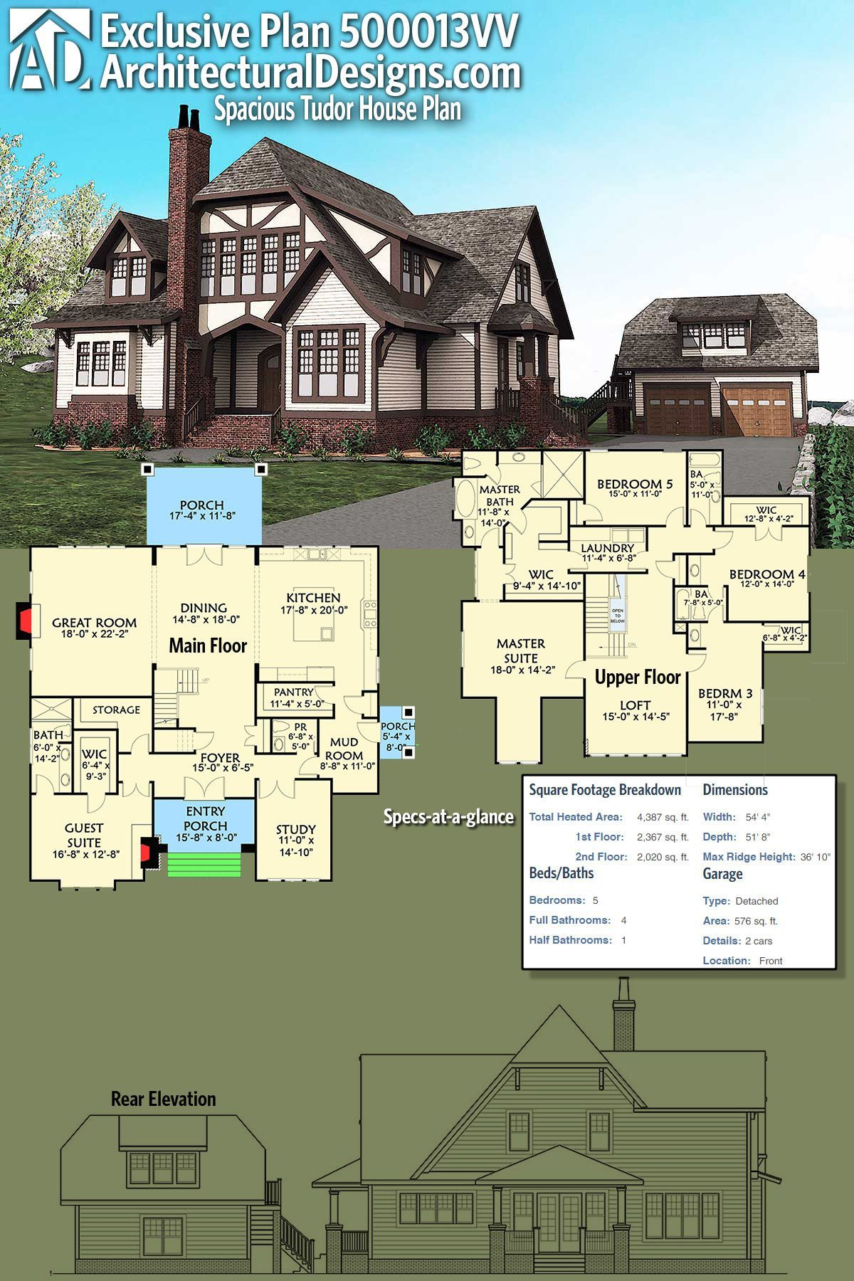 Architectural Designs Tudor House Plan 500013vv Gives You 5 Beds