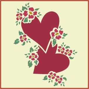 ROSEBUD HEART STENCIL The Artful Stencil
