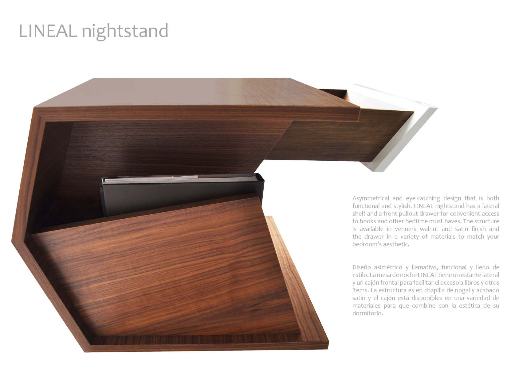 Lineal Nightstand Has A Lateral Shelf And A Front Pullout