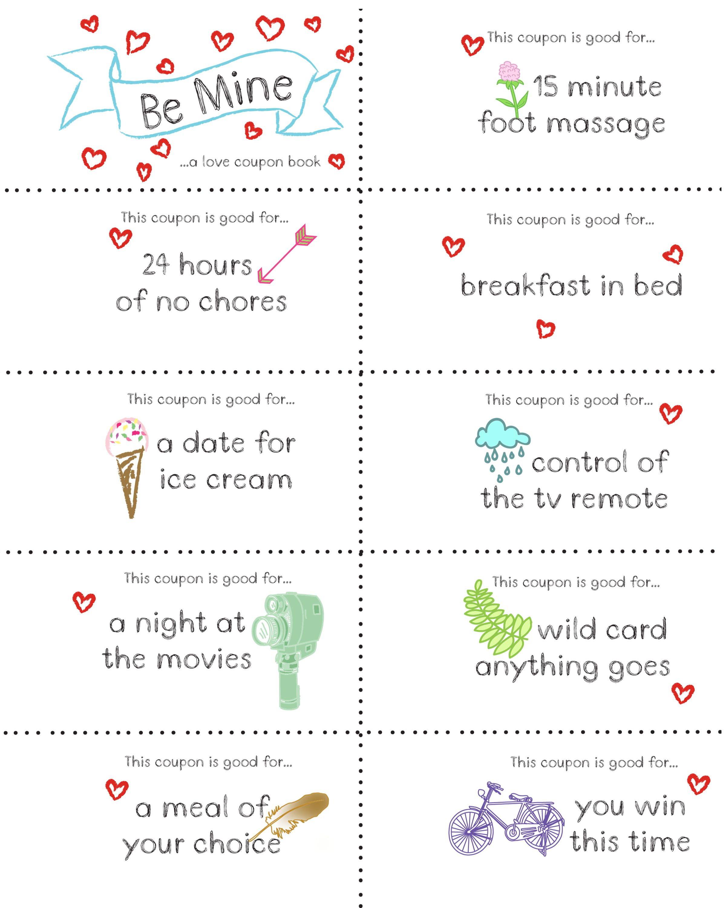 Last Minute Valentine Free Coupon Book Printable | Coupons, Books ...