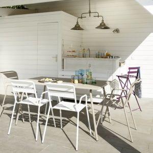 salon de jardin fermob monceau table l146 l80 cm 4 chaises 1 banc