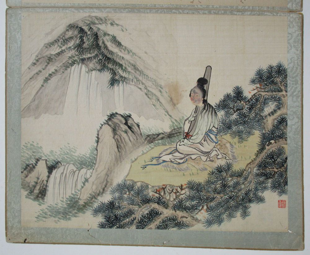 Antique Japanese Watercolour Painting On Silk Lady In A Landscape