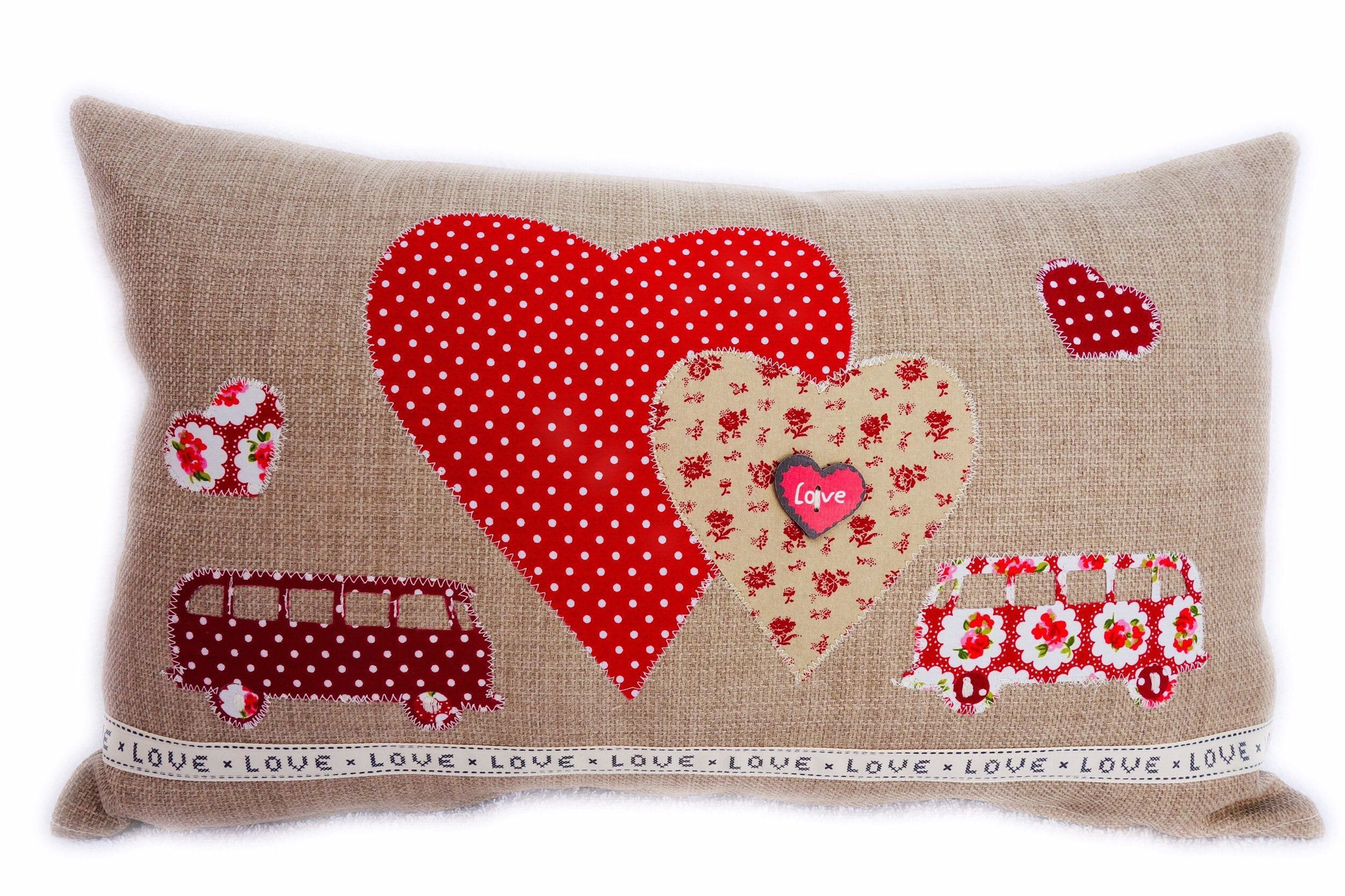 Campervan Appliqué Decorative Feature Cushion, Red Campers and Hearts design  Excited to share t