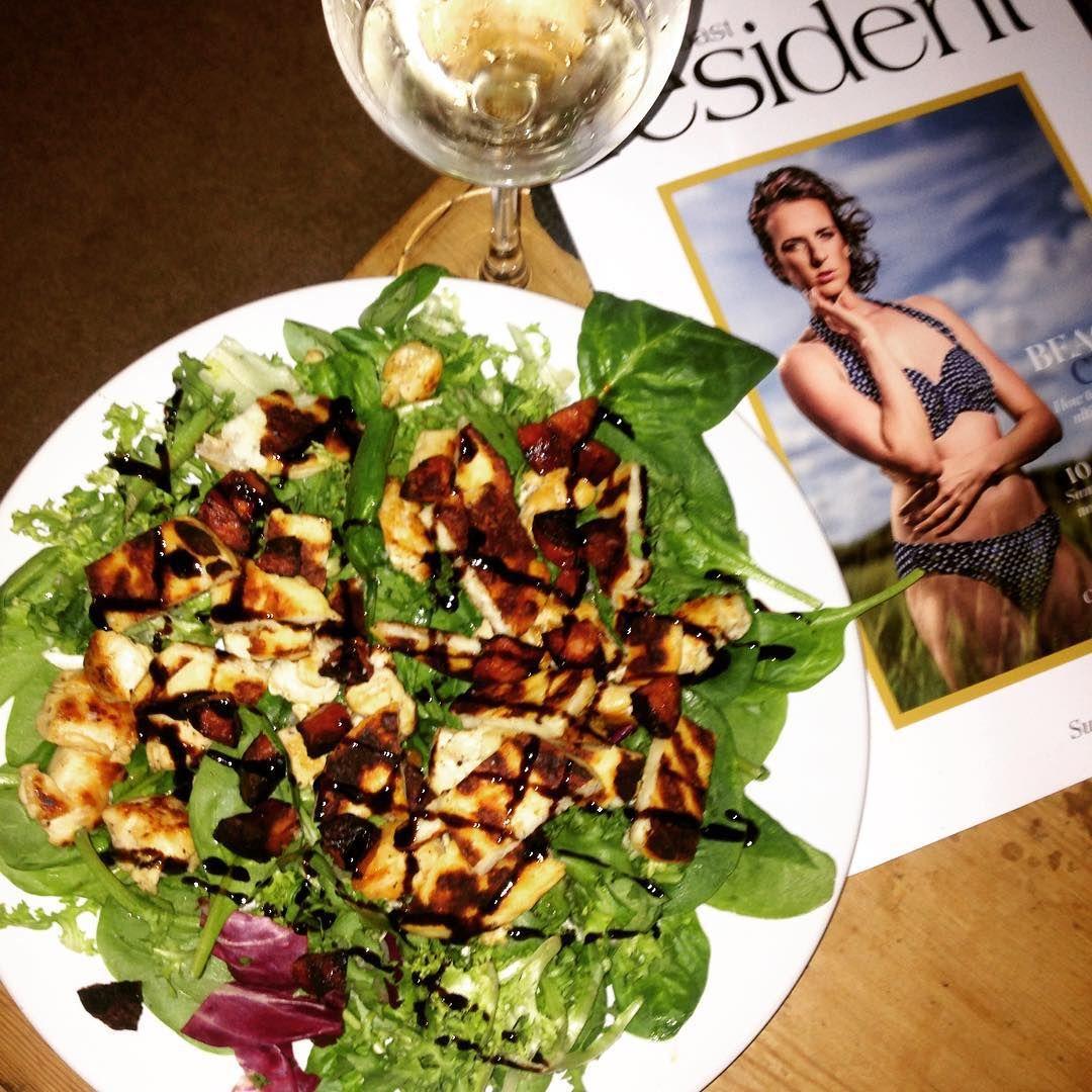Abi Hugo On Instagram Yummy Dinner Tonight Chicken Chorizo And Halloumi Salad With Olive Oil And Ba Halloumi Salad Balsamic Vinegar Dressing Yummy Dinners