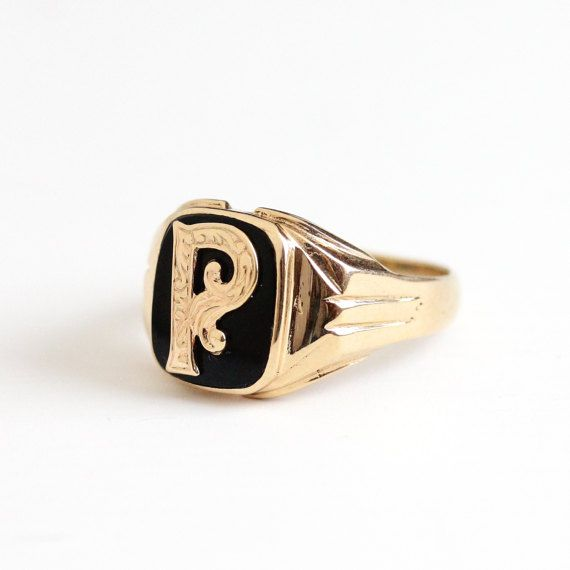 Vintage 10k Rosy Yellow Gold Black Onyx Initial Letter P Signet Ring Art Deco 1940s Size 12 3 4 Black Onyx Men S M Onyx Signet Ring Mens Monogram Signet Ring