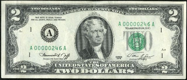 Series of 1976 Green Seal Two Dollar Bills - Values and