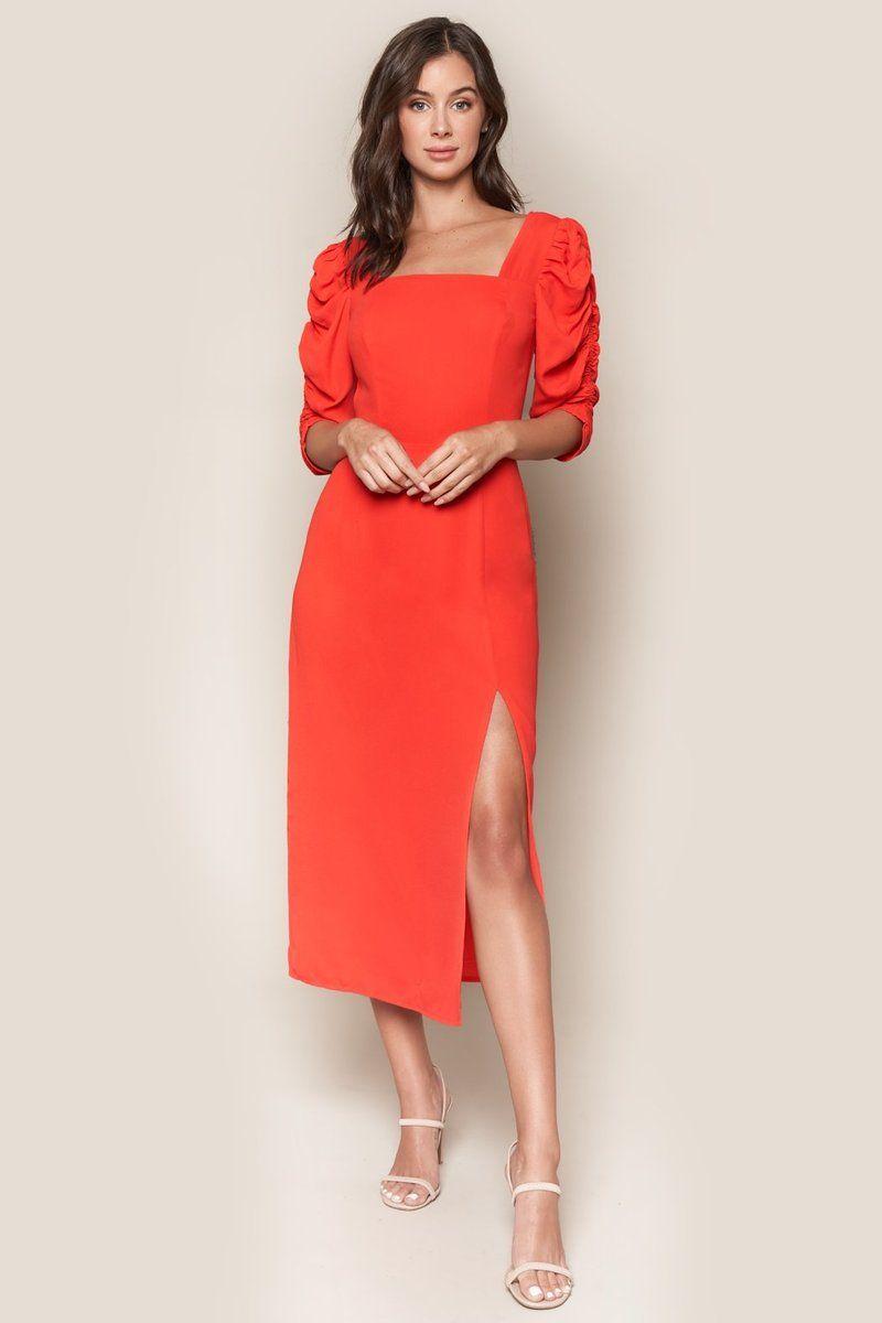 Like A Lady Puff Sleeve Midi Dress Red Long Sleeve Dress Midi Short Sleeve Dress Puff Sleeve Dresses [ 1200 x 800 Pixel ]