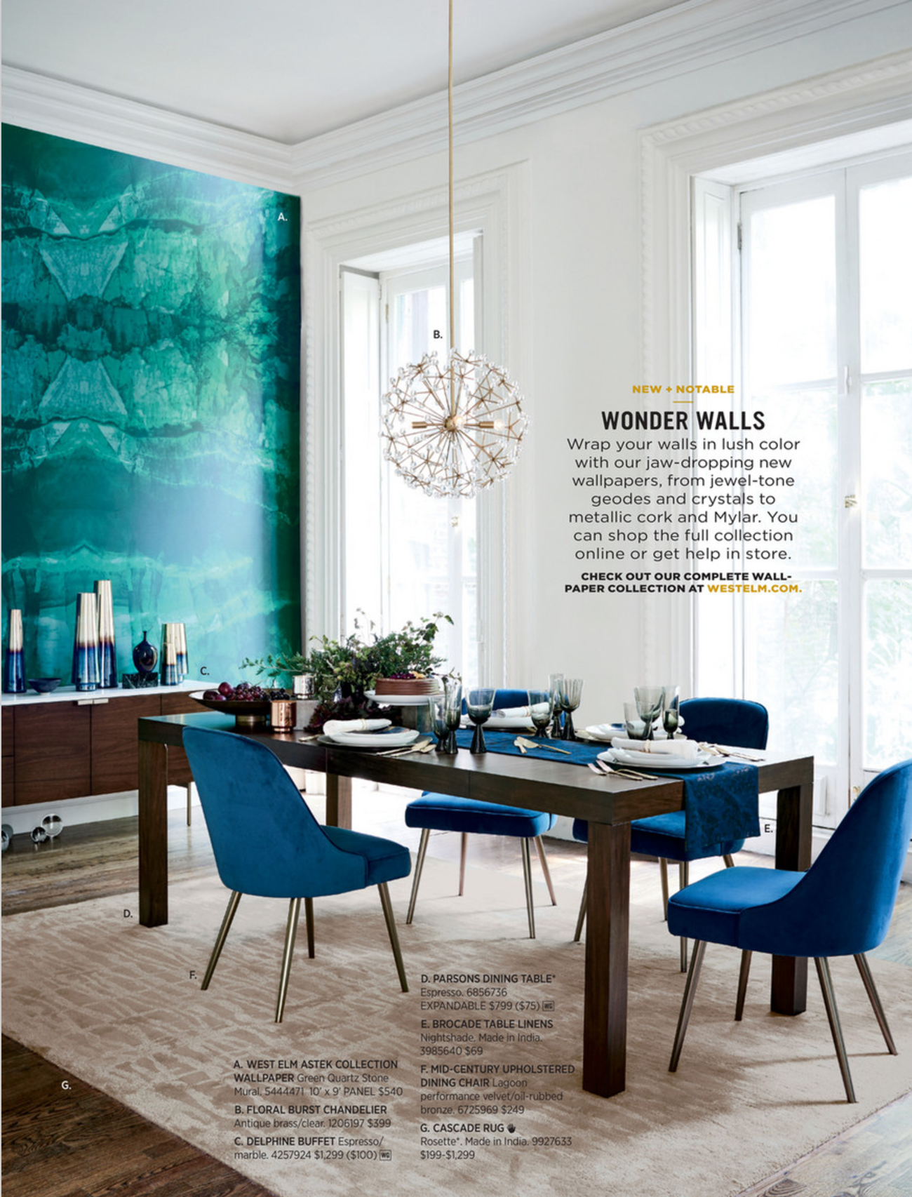 West Elm Blue Teal Dining Room Styling Mid Century Upholstered
