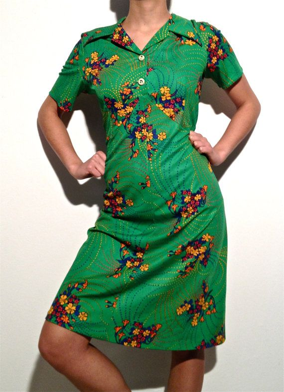 vintage floral patterned dress psychedelic by ilvecchioarmadio, €37.00