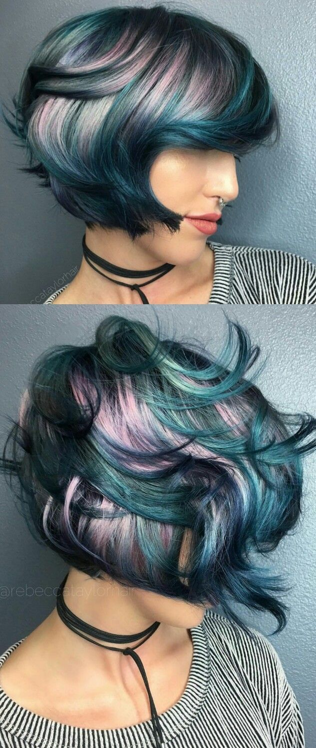 Pink teal blue dyed hair rebeccataylorhair hairspiration