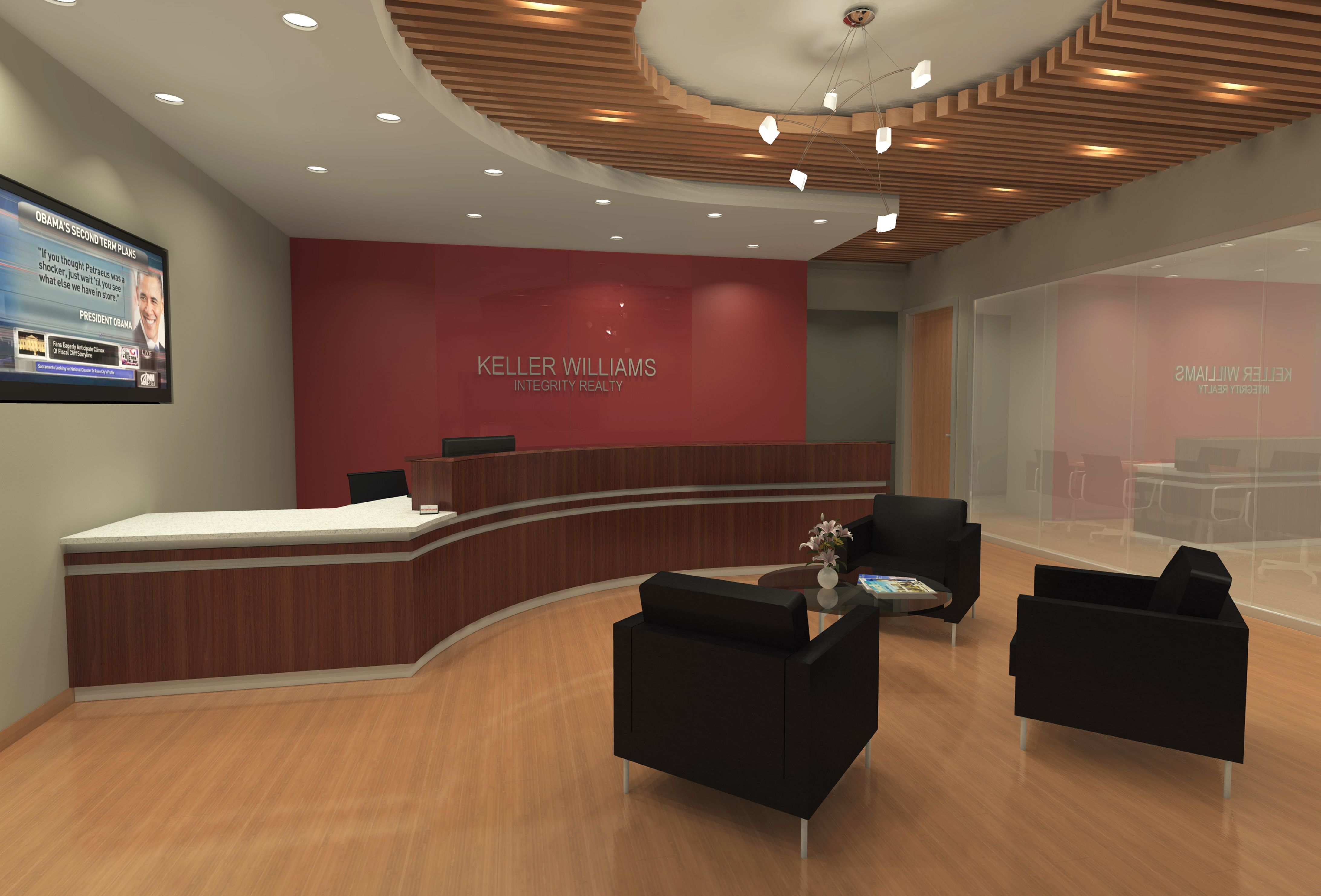 CMA was able to achieve a successful design for the client by creating a space that appealed to different types of real estate agents and their clients, including those from the trendy Uptown neighborhood to the more professional downtown areas. The finish palette includes modern materials, warm wood tones and a red accent color, all which compliment Keller Williams' overall brand.