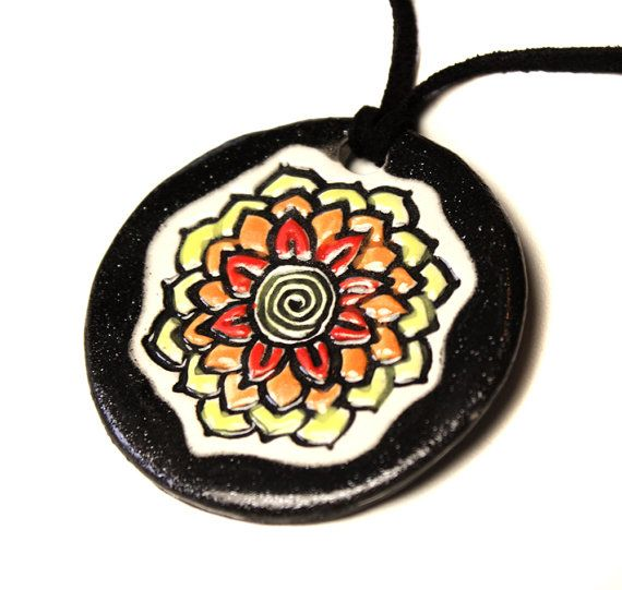 Flower Ceramic Necklace in Shimmering Black by surly on Etsy, $20.00