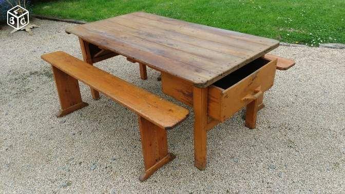 Ancienne Table De Ferme Avec Tiroir à Pain 2 Bancs Ameublement Côtes