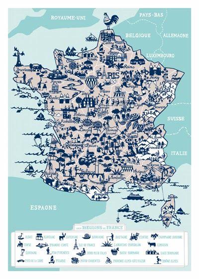 Print Pattern Famille Summerbelle Frankreich Karte