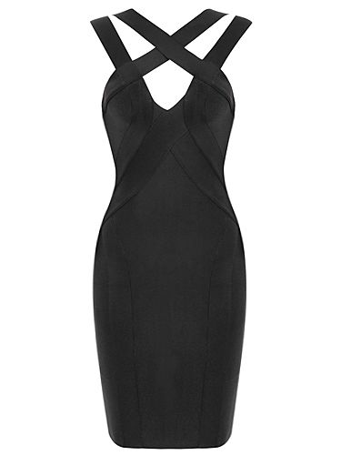 Sexy Cut Strappy Black Bandage Dress . Shop now at :  http://misscircle.com/Dresses/Bandage-Dress/Sexy-Cut/Sexy-Cut-Strappy-Black-Bandage-Dress.html
