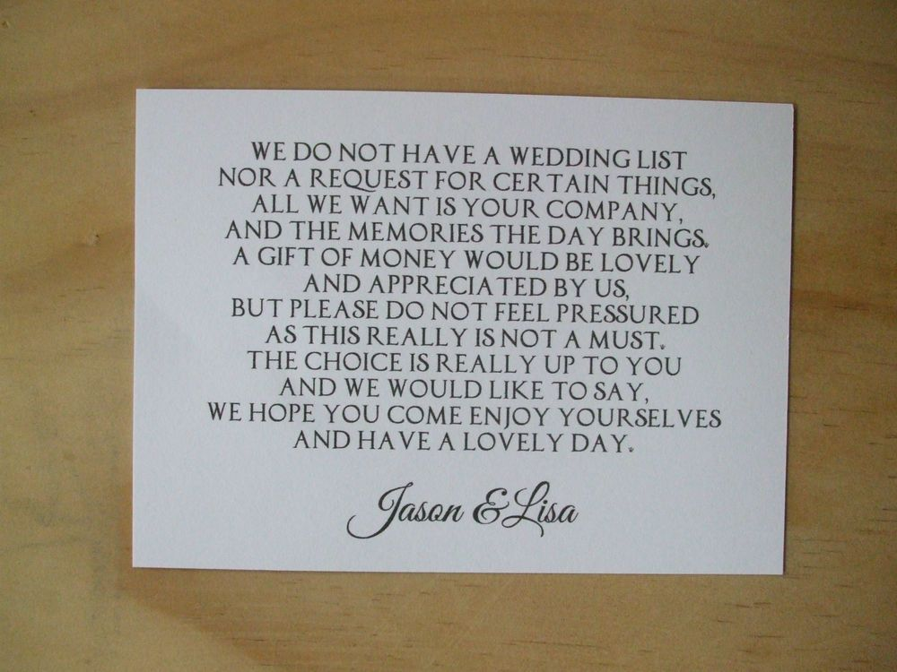 Monetary Wedding Gifts: Details About Wedding Money Request Poem Cards Honeymoon