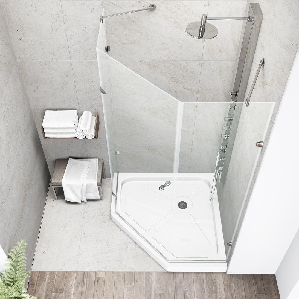 Vigo Verona 36 125 In X 76 75 In Frameless Neo Angle Shower Door