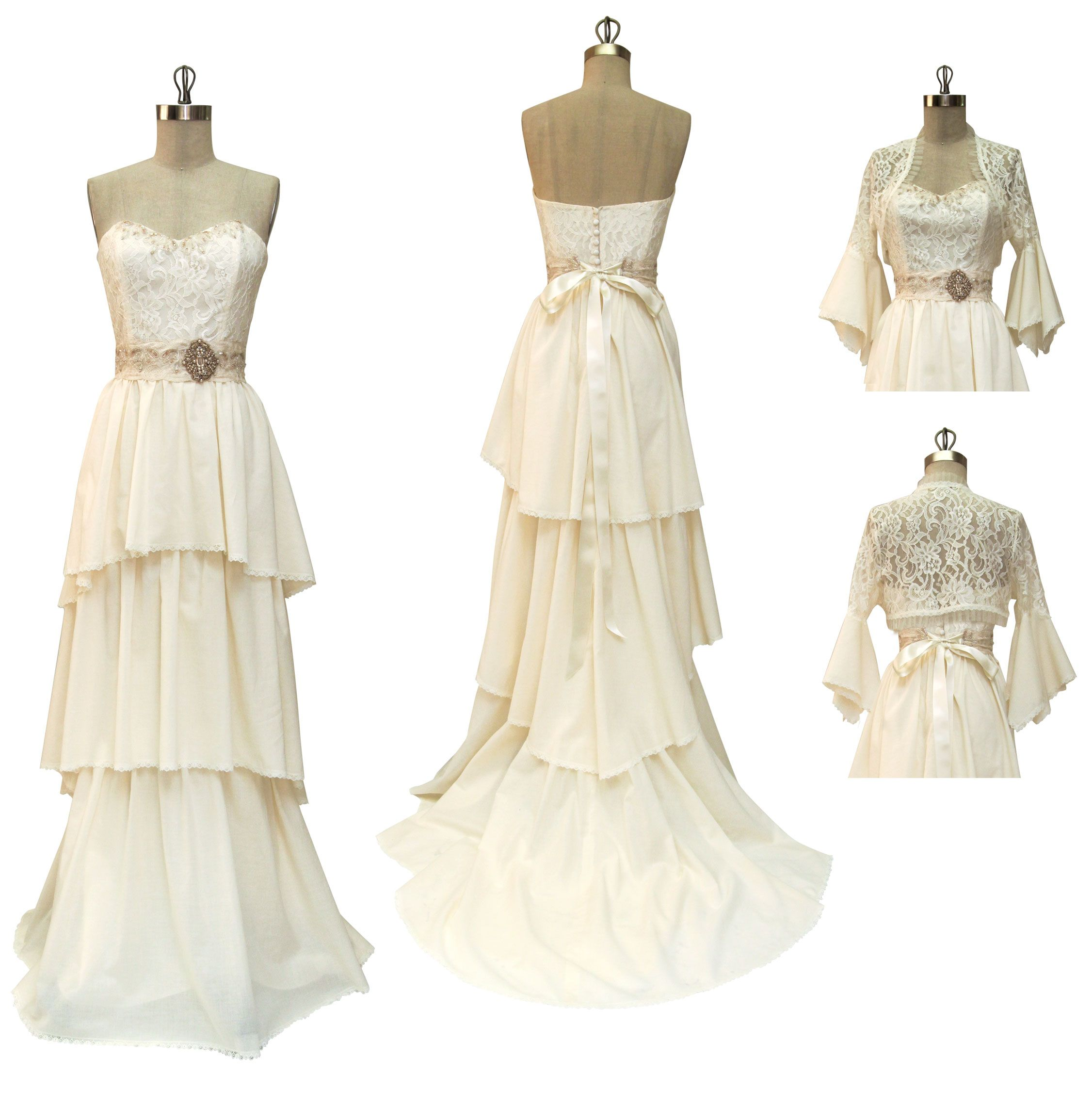 Vintage romantic dresses wedding dresses pinterest bridal vintage inspired ivory bridal gown with antique bridal belt and romantic tiered layers by claire pet ombrellifo Image collections