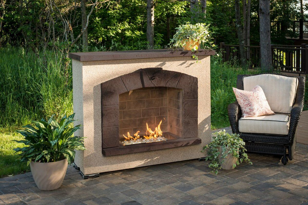 Stone Arch Concrete Propane Natural Gas Outdoor Fireplace