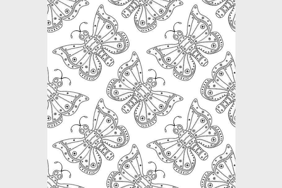 Butterflies Seamless Pattern In 2020 Butterfly Drawing Butterflies Vector Seamless Patterns