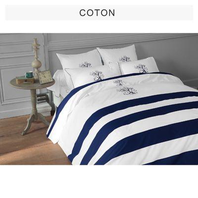 Housse De Couette Blanc Marine Manoir De Bouchara Collection 3 Suisses Home Home Decor Bed