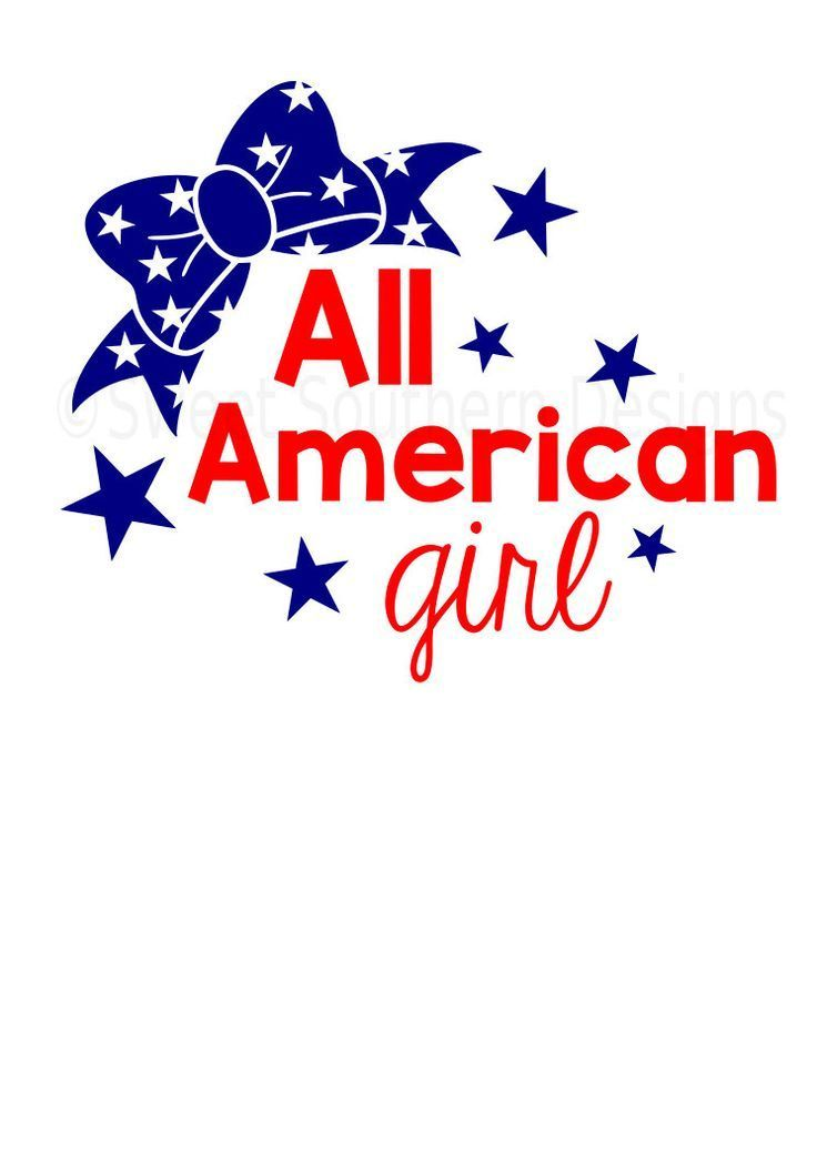 Download All American girl with bow Fourth of July Memorial Day SVG ...