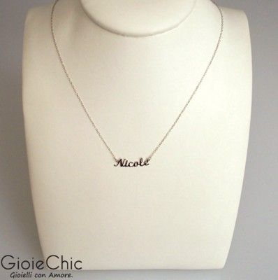 4687afa6c9e50 18Kt white gold necklace with Nicole name | My Letters | Name ...