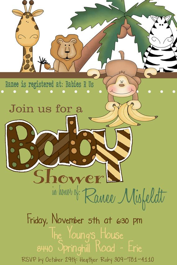 Safari Jungle Baby Shower Invitation | For future babies in the ...