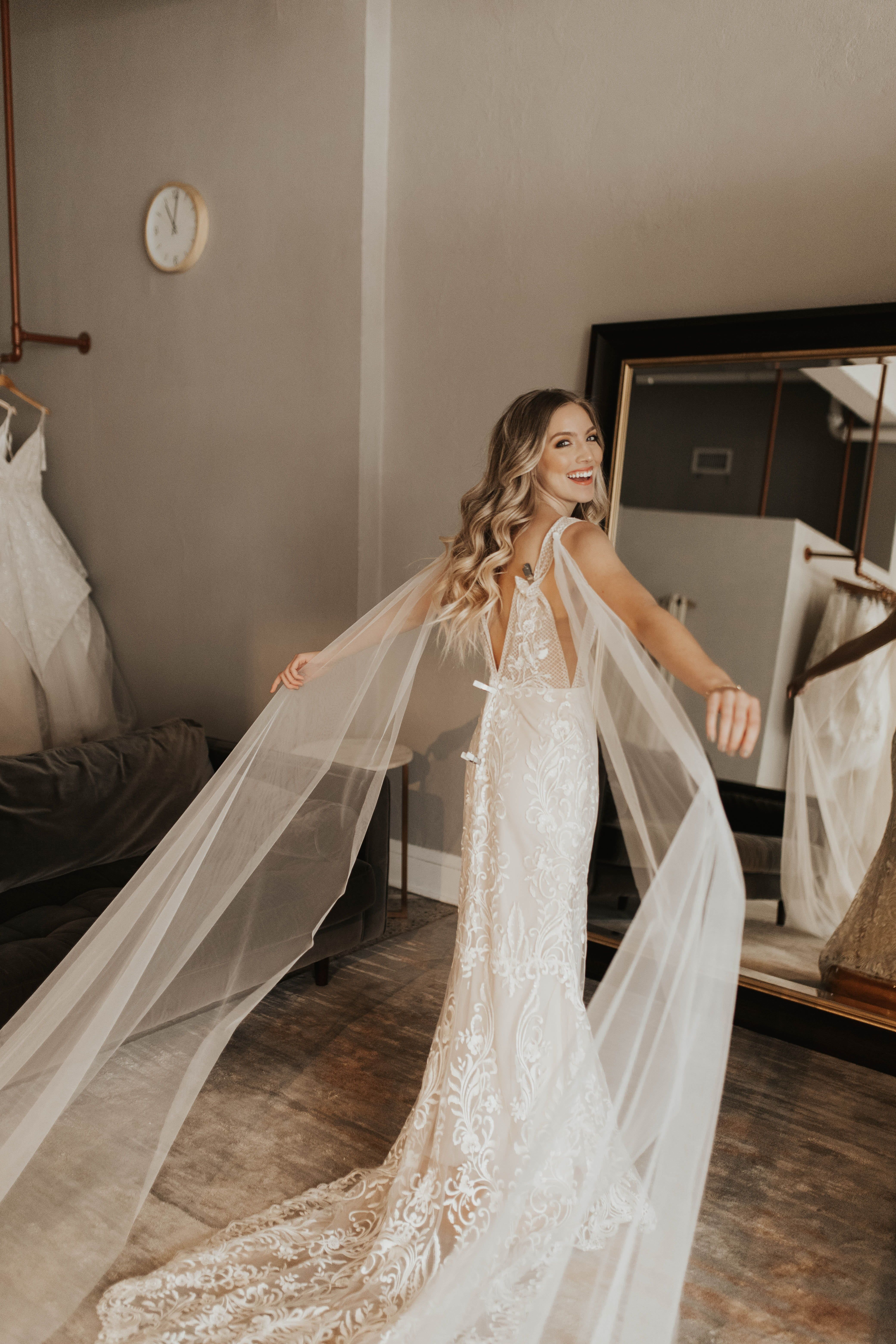Riley by Made With Love | Available at Minneapolis, Dallas, Denver, Miami, Seattle + Portland a&bé bridal shops | Plunging fitted applique lace wedding dress with lowback | Modern Bridal Shop | Modern Bride | Cool Girl Bridal | 2019 Wedding Dresses | Made With Love Bridal | Photos by: Nicole Castonguay | #madewithlove #mwlgirl #madewithlovebridal #aandbebridalshop #bridalshops