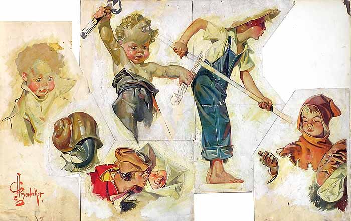 J C Leyendecker. The Studies. These studies were reassembled by the artist who bought them and mounted them on board.