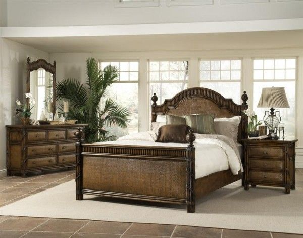 tropical bedroom decorating featuring rattan furniture picture - Tropical Bedroom Designs