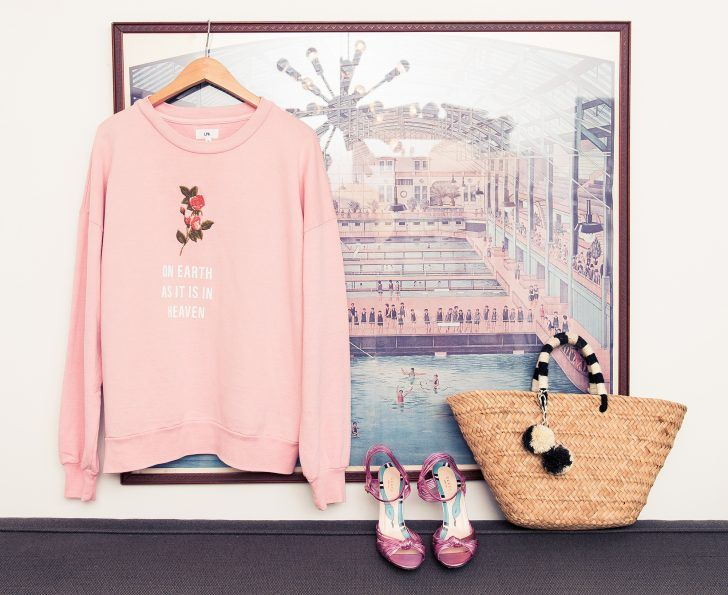 """Inside LPA The Label's Founder Pia Arrobio's Closet: Pink Sweater with Rose """"On Earth as it is in Heaven"""" by LPA, Pink Strappy Heels by Gucci 