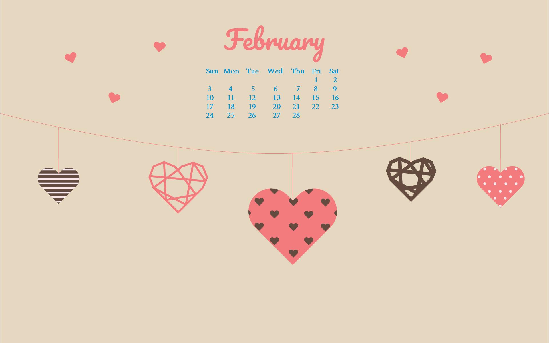 February 2019 Calendar Desktop Wallpaper February 2019 HD Desktop Calendar Wallpaper #february