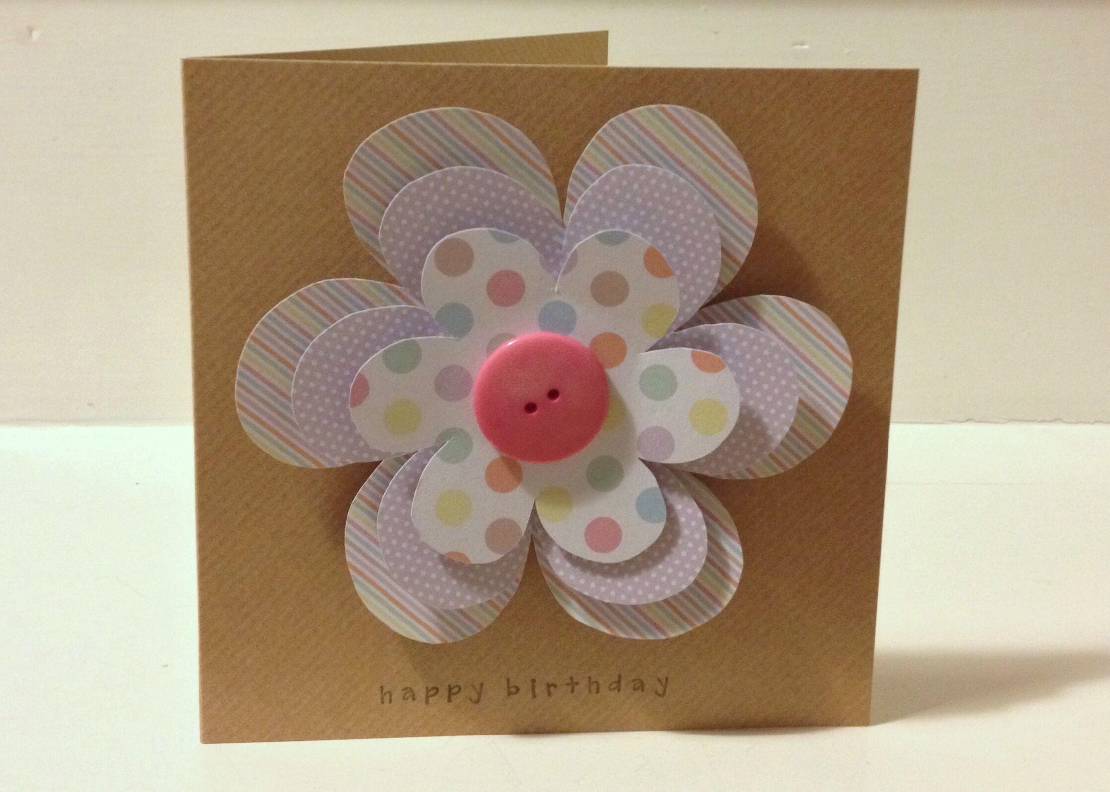 Handmade flower power birthday card 6x6 card with big hand cut handmade flower power birthday card 6x6 card with big hand cut flowers a izmirmasajfo Choice Image